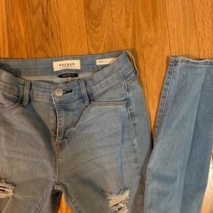 Pacsun distressed ripped low rise skinny jeans